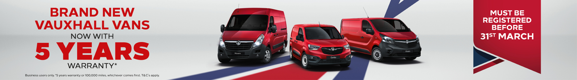 New Vauxhall Van 5 Years Warranty Offer